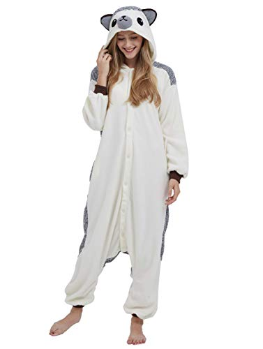 Jumpsuit Onesie Tier Karton Fasching Halloween Kostüm Sleepsuit Cosplay Overall Pyjama Schlafanzug Erwachsene Unisex Lounge, Igel, Erwachsene Größe M - für Höhe 156-167CM