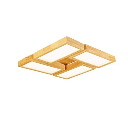 SGWH dimbare plafondlamp, modern, minimalistisch, LED, houtstijl, plafondlamp, 4-spots, plafondlamp, voor woonkamer, slaapkamer, eetkamer, studeerkamer, plafondlamp, acryl, lampenkap D76 cm