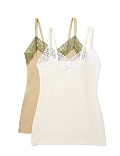 Marca Amazon - Iris & lilly Top Belk Camiseta de Tirantes para Mujer, Pack de 2