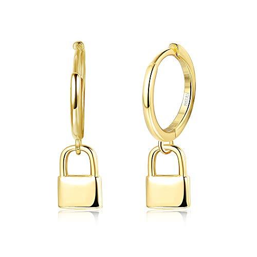 Milacolato Pendientes Aro de Oro con Forma de Bola, S925 Pendientes Aros Plata de Ley Chapados Oro de 18 quilates Pendientes de Aro de Circonita Cúbicade Ojo Malvado Pendiente para Mujeres y Hombres