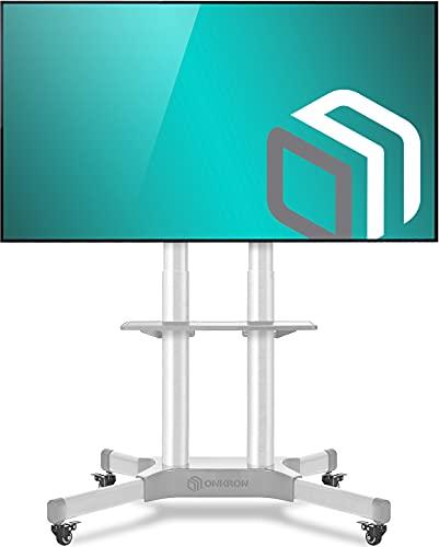 ONKRON TS1351-WHT Soporte TV 40'-65' con ruedas, pie TV de acero carga max 45,5 kg, Blanco