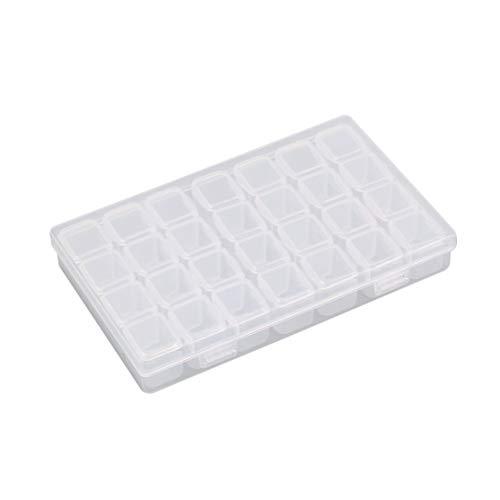 28 fentes boîte de rangement vide en plastique transparent pour Nail Art outils de manucure bijoux perles affichage cas de stockage organisateur titulaire