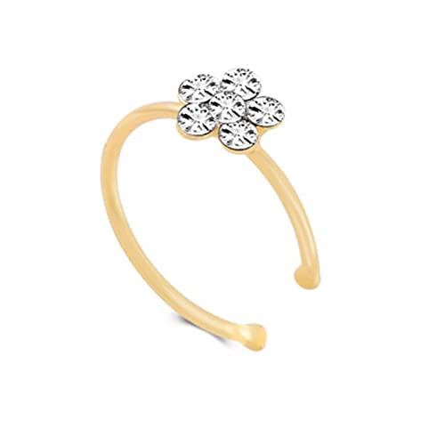 muziwenju PSWK Doble Espiral Oro Tono Falso Nariz Anillo Estilo de Color Plateado Clip de Moda en la Oreja Brazalete 2021 Moda de Moda joyería (Metal Color : 0010G Gold)