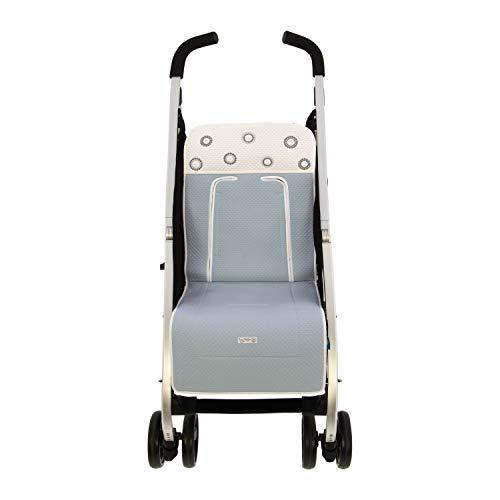 Colchoneta o funda de Paseo para silla Ligera Rosy Fuentes en color blanco celeste empolvado