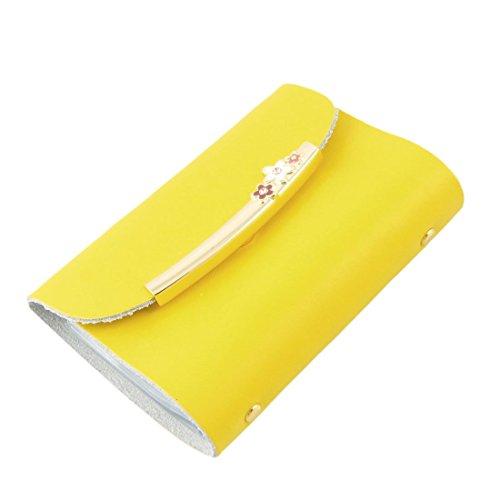 Sourcingmap kunstleer goud metaal Accent Bank naam kaarthouder, geel