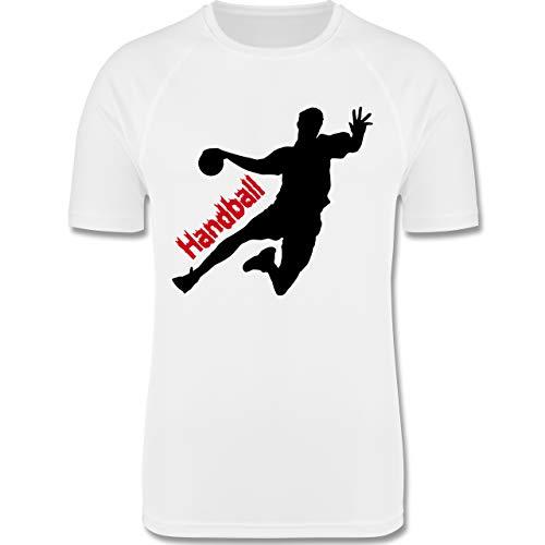 Sport Kind - Handballer mit Schriftzug - 116 (5/6 Jahre) - Weiß - Handball Trikot Kinder - F350K - atmungsaktives Laufshirt/Funktionsshirt für Mädchen und Jungen