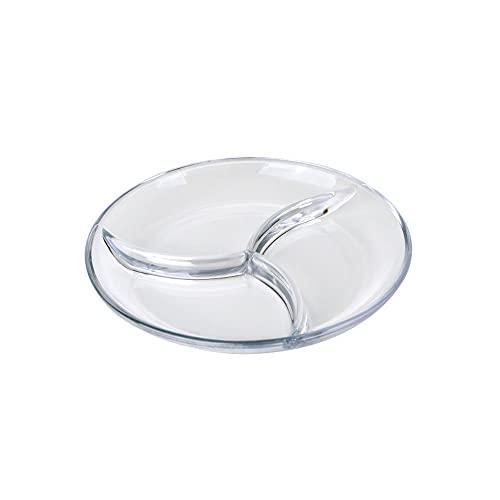 Platos de Cena, Plato de Bola de Masa, Plato de Porciones Saludables, Plato de Dieta, Plato de Control de Porciones de Cristal para Adultos, (22,8 cm / 9 Pulgadas)
