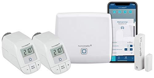 Homematic IP Access Point - Smart Home Gateway mit kostenloser App und Sprachsteuerung über Amazon Alexa + 2X Heizkörperthermostat – Basic, Push-to-Pair + HmIP-SWDM Fensterkontakt, smart