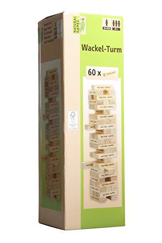 Natural Games Wackel-Turm mit 60 Spielsteine