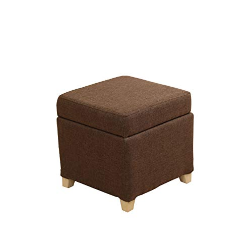 FLYFASH Storage Cube, Storage Stool, Can Sit Adult Storage Box, Living Room Fabric Stool,Solid Wood Shoes Bench Foot Rest Stool Seat, Folding Toys Chest Collapsible for Kids (Color : Brown)