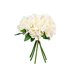 SN Decor 5 Heads Artificial Peony Silk Flower Fake Hydrangea Flowers Home Bridal Wedding Party Festival Bar Decoration, Pack of 1 – (Beige)