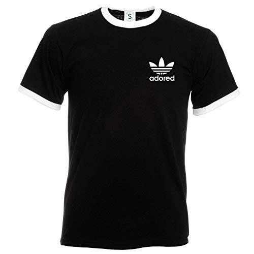 FRUIT OF THE LOOM Ian Brown Wanna Be Adored Tribute T-Shirt Spike Island Ringer (L, Black Tshirt-White Logo)