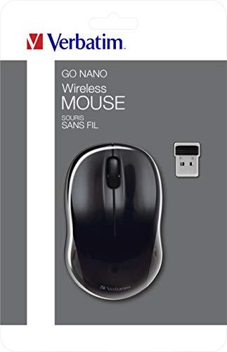 Verbatim kabellose GO NANO-Maus - Optische Funkmaus für PC und Mac mit 2.4 GHz, 1600 dpi Auflösung, Nano-Receiver, schwarz