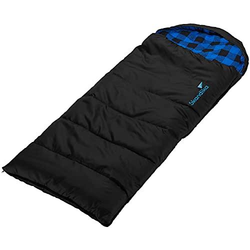 skandika Dundee Junior Kinderschlafsack | Outdoor Camping Schlafsack für Kinder, Flanell-Innenfutter aus Baumwolle, kuschelig weich, wasserabweisend, Komfortbereich von 13 bis 3°C, 160x62cm (schwarz)