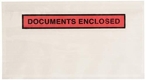 """Purely Packaging - Sobres portadocumentos adhesivos, 1000 unidades, plástico, DL, 235 x 135 mm, texto """"Documents Enclosed"""""""