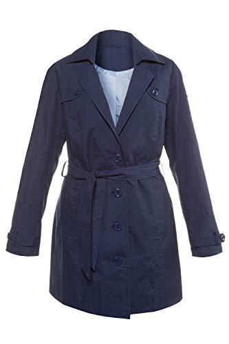 GINA LAURA Damen | Trenchcoat | Bindegürtel | Größe S-XXXL | kürzer geschnitten, Revers-Kragen | große Knöpfe | Navy M 709437 71-M