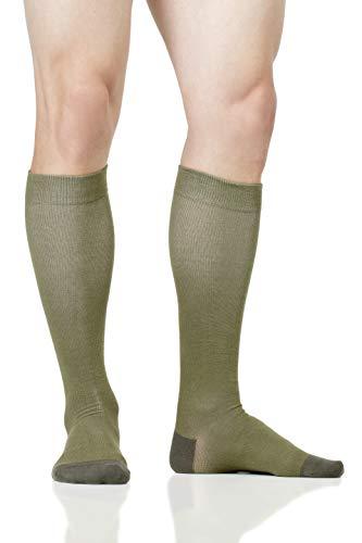 LOLLOP Men's Cotton 15-20 mmHg Compression Socks (Army Green, M/L)