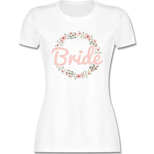 JGA Junggesellenabschied Frauen - Bride Blumenkranz rosé - L - Weiß - t-Shirt Braut - L191 - Tailliertes Tshirt für Damen und Frauen T-Shirt