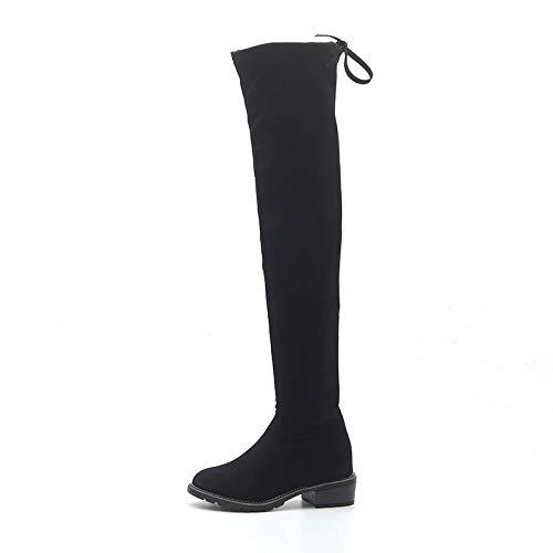 Shukun enkellaarsjes over de knielaarzen dames hoge hak herfst en winter laarzen dik met dunne lange laarzen zijrits laarzen