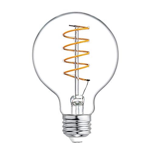 GE Globe LED Vintage Light Bulb, G25 Clear Glass LED Edison Bulb (60 Watt Replacement Dimmable LED Light Bulbs), 250 Lumen, Medium Base Light Bulbs, 1-Pack E26 Edison Bulb
