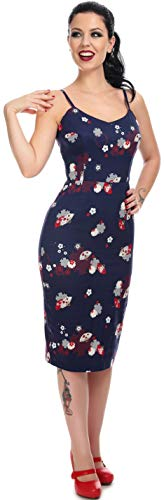 Collectif Damen Kleid Citnhia Fächer Kirschblüten Dress Blau S