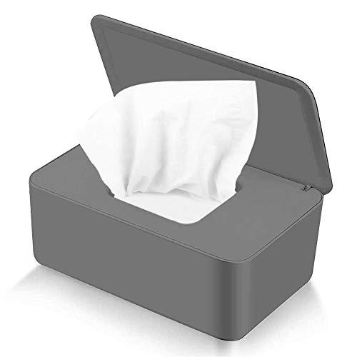 Migimi Caja para Toallitas Húmedas con Tapa, Caja De Servilletas, funda protectora de tela sin polvo, Dispensador de Toallitas Humedas para Hogar Coche Oficina (gris)