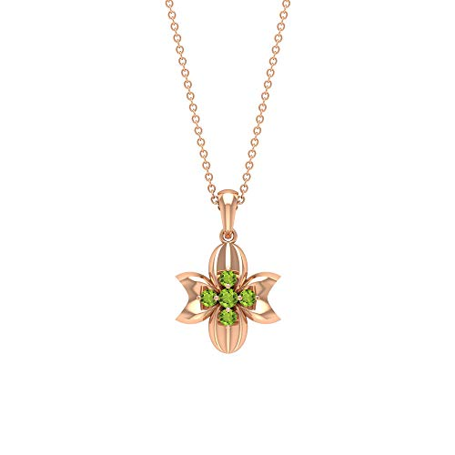 Peridot Pendant Necklace 1/4 CT, Art Deco Pendant, Gold Cluster Necklace (2.20 CT, 2.50 CT Round Shaped Peridot), 14K Rose Gold