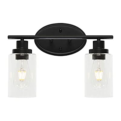 BONLICHT Double Sconce Vintage Industrial 2-Lights Wall Sconces with Clear Glass Shade,Black Vanity Light Fixture Rustic Wall Mounted Lamp for Porch Farmhouse Bedroom Bathroom Mirror