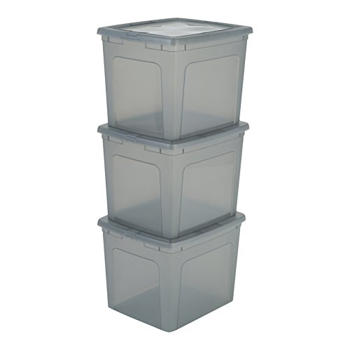 Iris Ohyama, lote de 3 cajas de almacenamiento con tapa Modular Clear Box MCB 30 Plástico, gris/transparente, 30 L, 39,5 x 34 x 30,5 cm, 30L