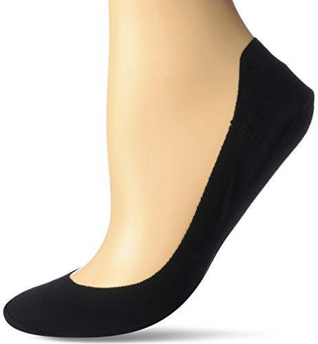 HUE Women's Hidden Cotton Perfect Edge Liner Sock with Gel Tab, Black, One Size