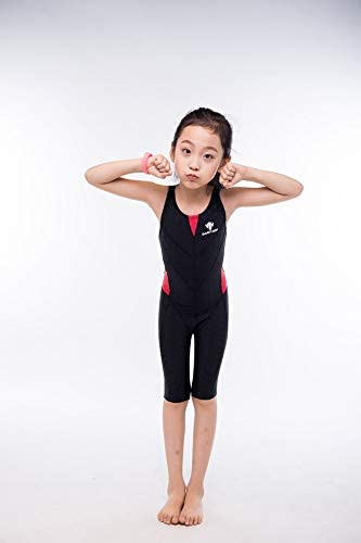 YIXING Girl's Summer Push Up One Piece Swimsuit Professional Water Sport Swimwear Kids Patchwork Racing Competitive Bathing Beach Suit (Color : Black, Size : S(25 27kg))
