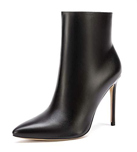 CASTAMERE Damen Reißverschluss Stiefeletten Stilettos Hoch Heel 10CM PU Schwarz Schuhe EU 45