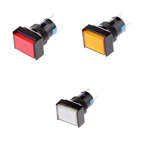 Bonarty Interruptor Cuadrado de Reinicio Automático Momentáneo con Botón Pulsador DC12V de 3 Piezas con Luz LED