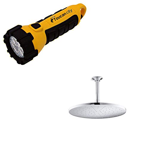 Toucan City LED Flashlight and KOHLER 1-Spray 12 in. Single Ceiling Mount Fixed Rain Shower Head in Polished Chrome K-13690-CP