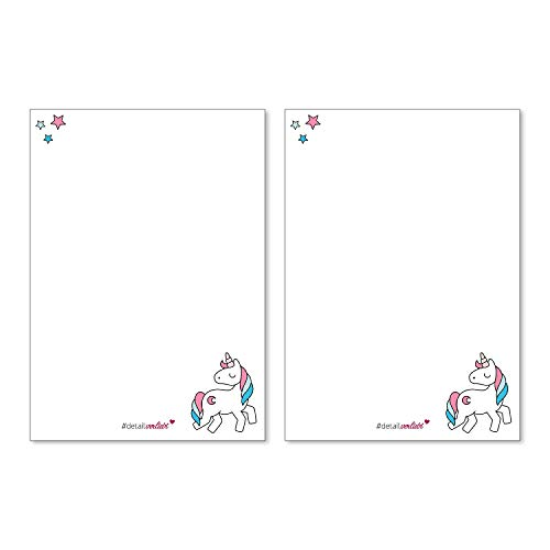 2 Einhorn Schreibblöcke I dv_102 I DIN A6 I Notizblock Malblock Schreibpapier mit Motiv rosa blanko ohne Linien geleimt zum Abreißen