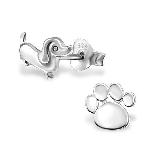 Monkimau Pendientes para niña con diseño de perro salchicha, de plata de ley 925 auténtica con...