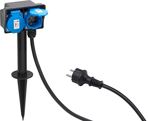 Meister Stromverteiler 2-fach - 1,4 m Kabel - Mit Erdspieß - Gummischlauchleitung - IP44 Außenbereich / Outdoor Verteilersteckdose / Gartensteckdose mit Erdspieß / Außensteckdose / 7430950