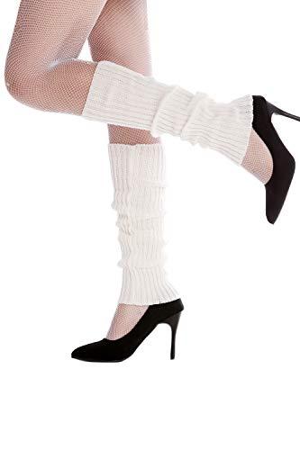 Dress Me Up - W-020A-white Stulpen Beinwärmer Beinstulpen im 80er Jahre Stil weiß Aerobic