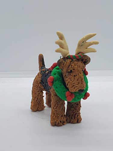 AIREDALE CHRISTMAS ORNAMENT Antlers & Wreath HAND MADE Polymer CLAY