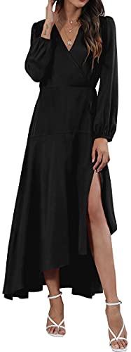 WINKEEY Damen Wickelkleid mit V-Ausschnitt unregelmäßiger Saum Maxikleid mit übergroßer Saum Langarmkleid Puffärmel Elegante...
