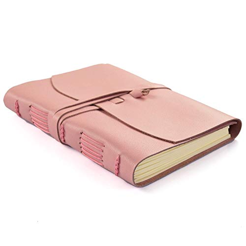 Elizo Pink Leather Notebook Blank Pages – Unlined Leather Journal for Women and Men - Leather Bound Journal - Leather Sketchbook Gift Set with Pen – 240 Pages, 7x9, – 1008