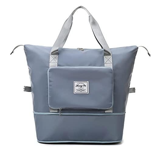 wgkgh Bolsa de viaje plegable de gran capacidad para llevar contigo, bolsa de equipaje de mano plegable ligera e impermeable (azul)
