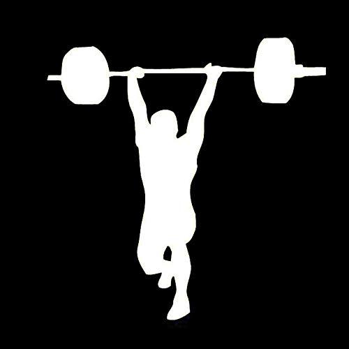 Gym Decor Boy Sport Levantamiento de Pesas Etiqueta engomada del Coche Vinilo 14.4Cm * 14.6Cm