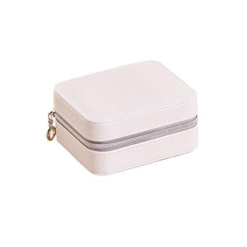 Joyero portátil Befitery Joyero de viaje para guardar joyas, pequeño maletín para anillos, pendientes, collar (color blanco)