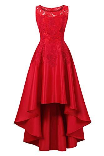 Damen Spitzenkleid Elegante Ärmellos Rundhals A-Linie Abendkleider Für Hochzeit Bequeme Größen Mit Besticktes Festliche Cocktailkleider Mode Kleidung Unique Unregelmäßig Asymetrisch Partykleid