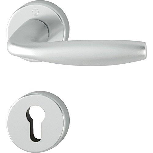 Hoppe hogar Puerta Puerta FH manillas New York, aluminio anodizado en plata, llave roseta para puertas interiores, grosor de la puerta 40–45mm, rundrosette PZ