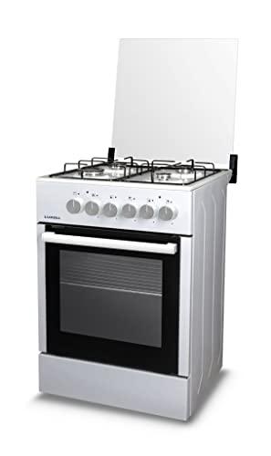 Cucina a Gas 4 Fuochi Forno a Gas 60x60 cm Bruciatore Doppia Corona Forno Luxell