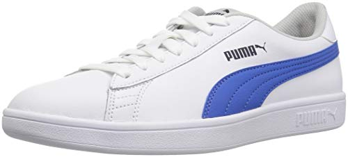 PUMA Unisex-Kid's Smash Leather Jr Sneaker, White-Strong Blue-Peacoat-Gray Violet, 4.5 M US Big Kid