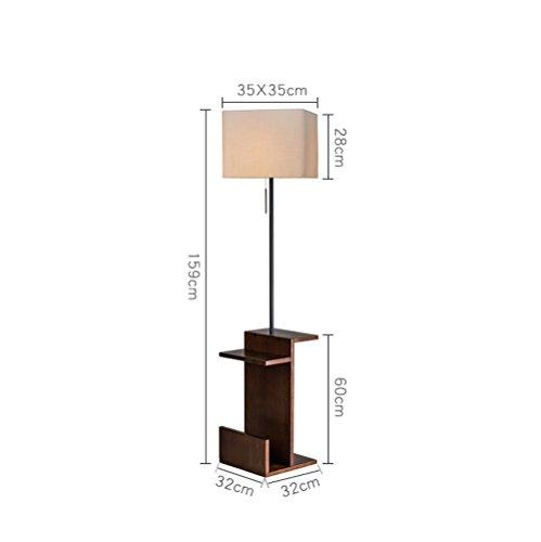 HJR Lampe De Plancher Salon Simple Moderne Lumière De Thé Créative Chambre À Coucher Nordic Lampe De Table Verticale Lampe De Style Américaine A+ (Couleur : Wood color light body+white light)