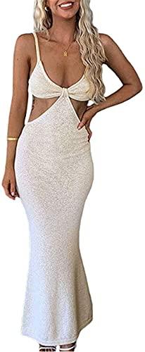 maimai Halter Neck Sleeveless Backless Dress,Halter Neck Bodycon Dress for Women y2k Knitted,Women Spaghetti Strap Long Dress Knitted Sleeveless (M, apricot)